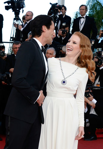 Adrien Brody greeted Jessica Chastain at the Cleopatra premiere on Tuesday at the Cannes Film Festival.