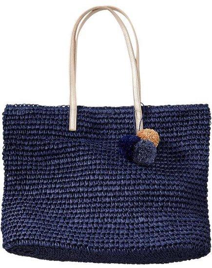 Women's Crochet-Straw Pom-Pom Totes