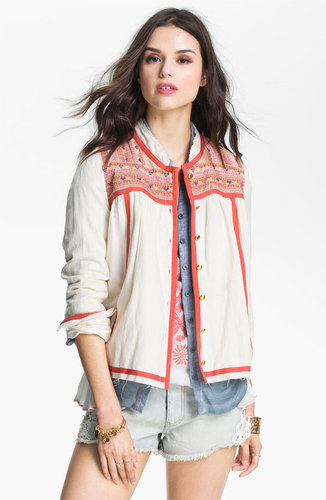 Free People 'Prairie' Embroidered Swing Jacket
