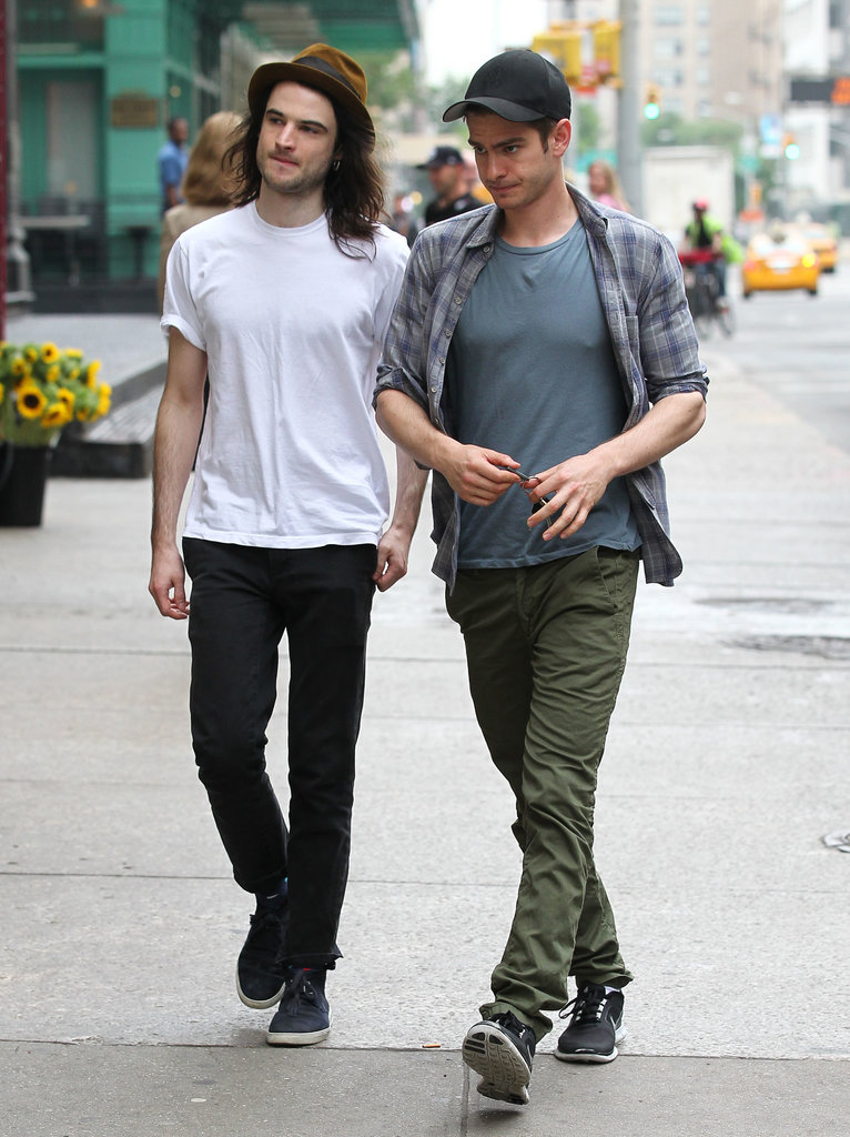Tom Sturridge and Andrew Garfield went for a walk together in NYC.