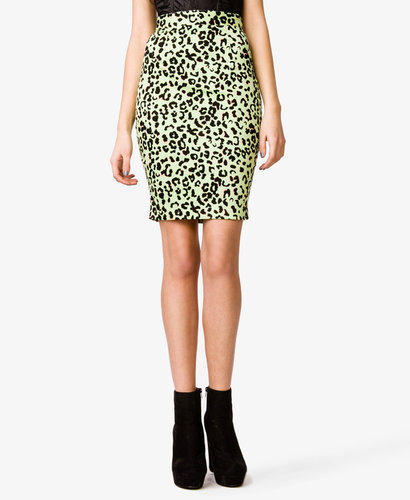 FOREVER 21 Leopard Print Pencil Skirt