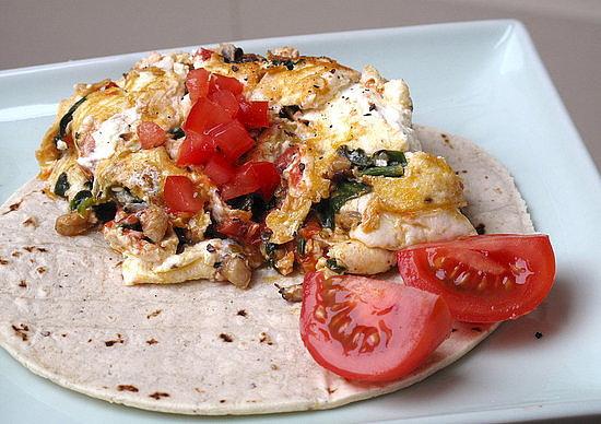 Mushroom, Spinach, and Tomato Scramble