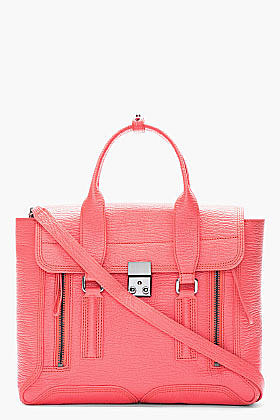 3.1 PHILLIP LIM Coral pink shark-embossed leather pashli satchel
