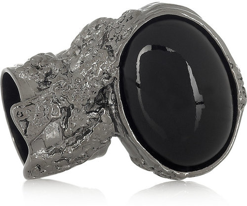 Saint Laurent Arty ruthenium-plated glass ring