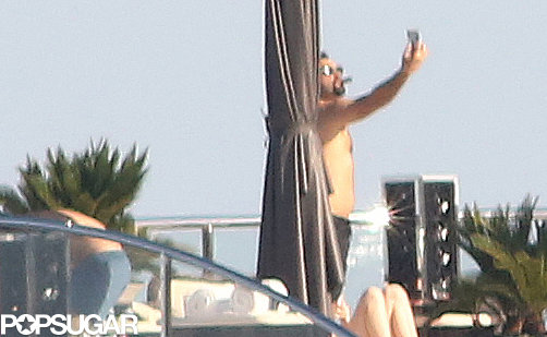 Leonardo DiCaprio snapped a selfie on a yacht in Cannes on Tuesday.