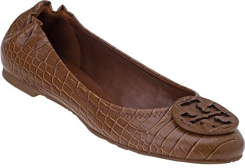 TORY BURCH Reva Ballet Flat Almond Croc Leather