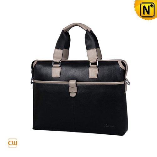 Black Leather Briefcase Bags CW901535 - cwmalls.com