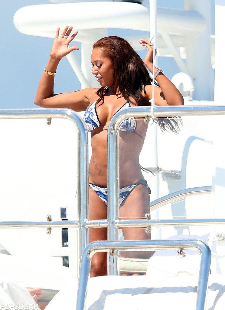 Mel B danced in a blue and white bikini in Cannes.