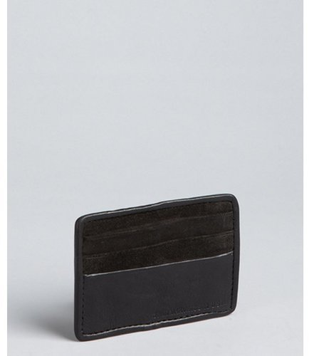 John Varvatos Star USA black leather and suede ID card case