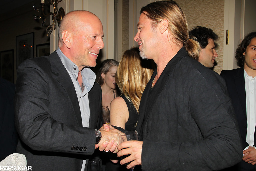 Photo of Bruce Willis & his friend actor  Brad Pitt - Longtime