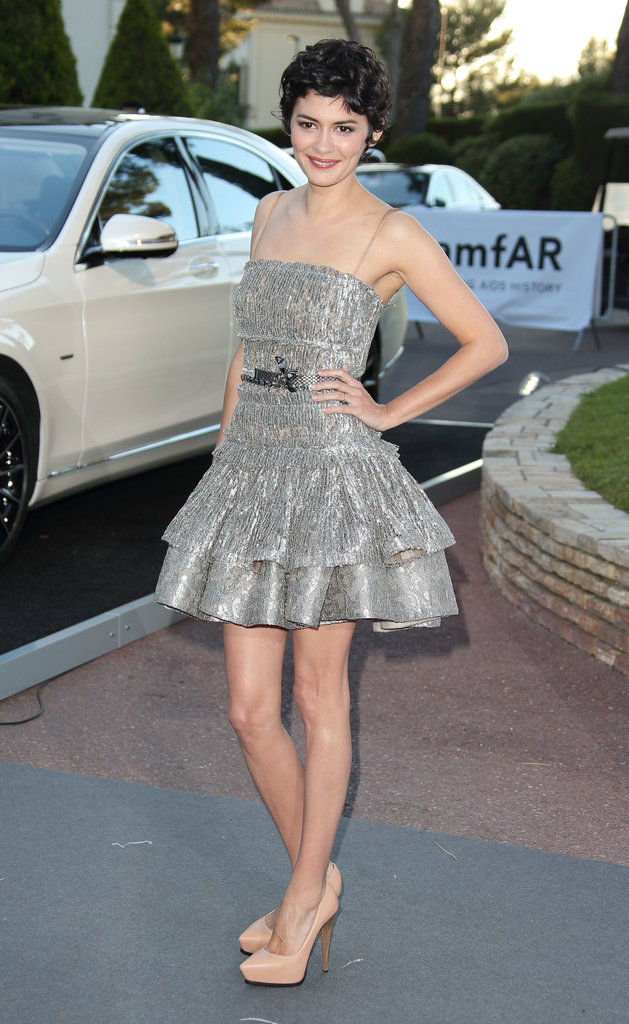 Audrey Tautou was flirty in her silver metallic fit-and-flare dress and nude platform pumps.