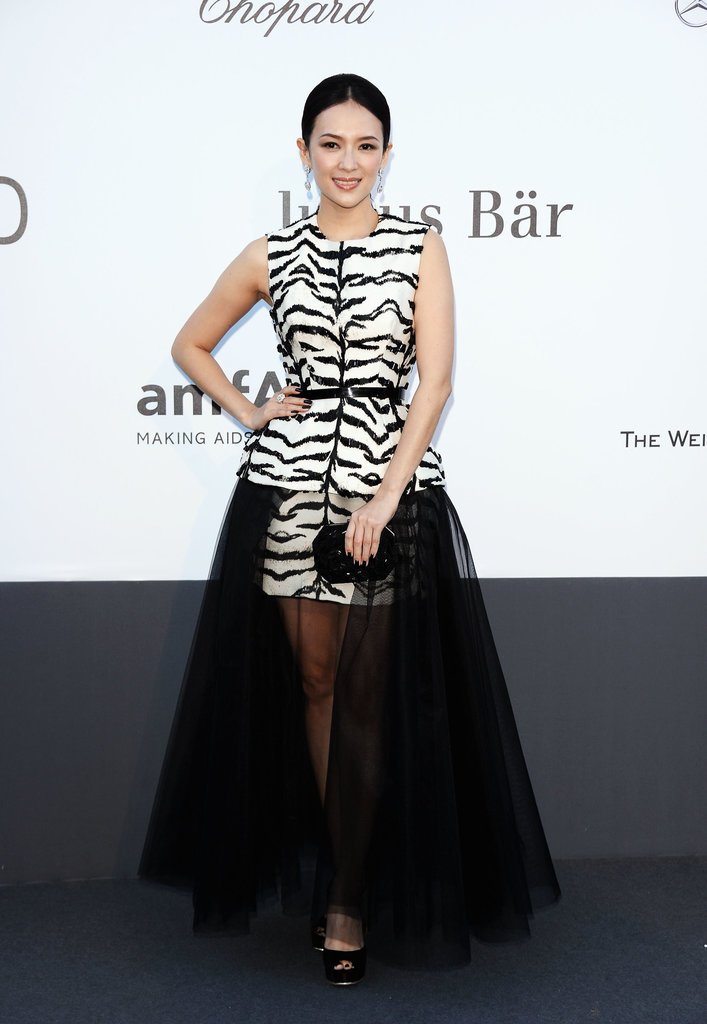 More black and white was spotted on Zhang Ziyi, who tried the trend in zebra-like stripes and a modified peplum skirt from Giambattista Valli Haute Couture.