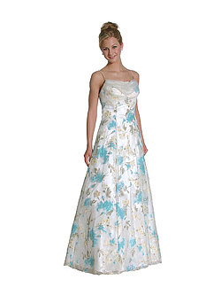 Beaded Floral Princess Cut Satin Evening Dress