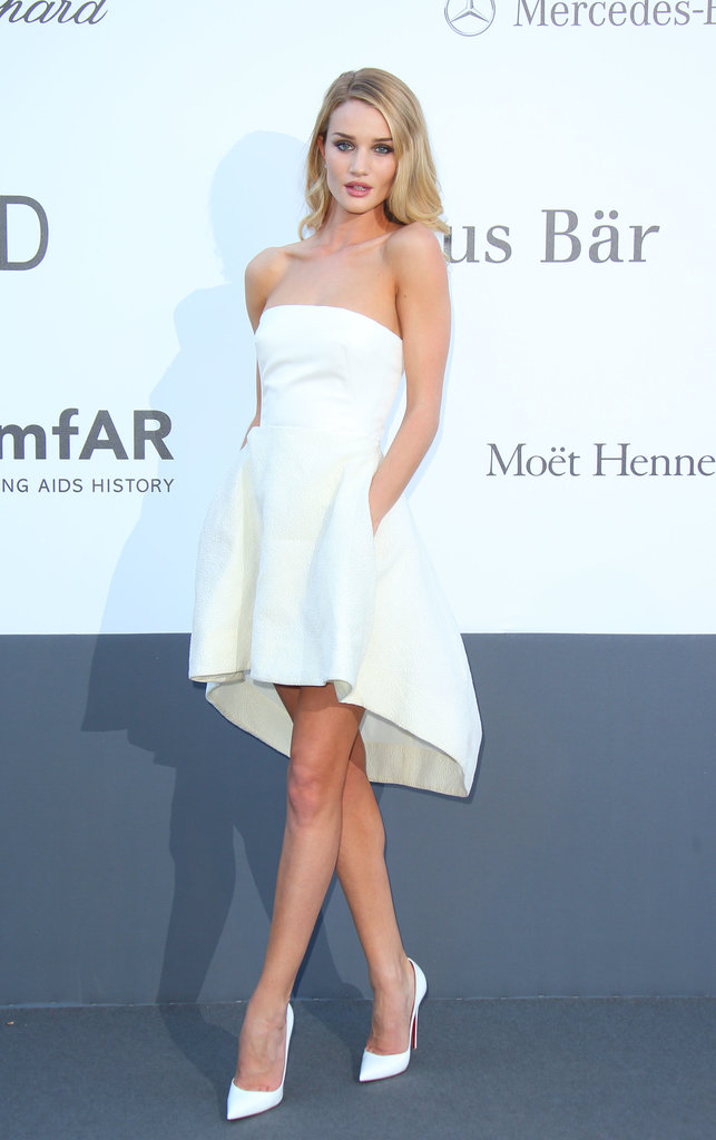 Rosie Huntington-Whitelely in White Strapless Dior Dress