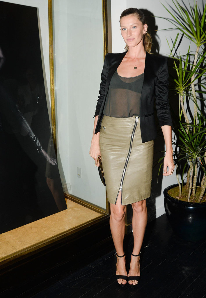 To celebrate her collaboration with BLK DNM, Gisele played with texture and weight to marvelous effect. Shamelessly copy her on your next date night by mixing a sheer top with a tough leather piece on bottom.