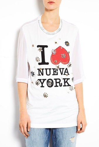 3.1 Phillip Lim White Nueva York Floral Eyelet Embellished T-shirt