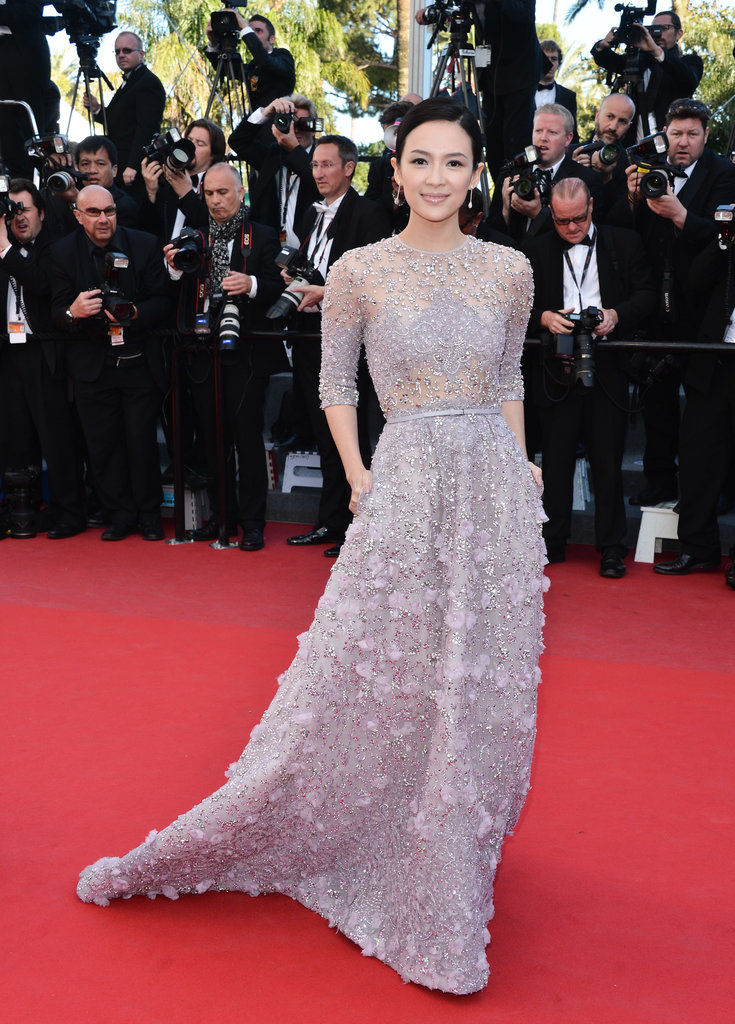 Zhang Ziyi picked a pale, gray lilac gown embellished with delicate beadwork and a skinny belt right at the waist.