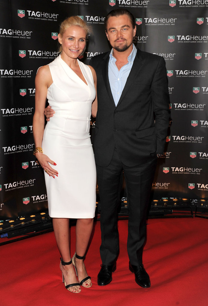 Leonardo DiCaprio linked up with his friend Cameron Diaz at the Tag Heuer yacht party at the Cannes Film Festival.