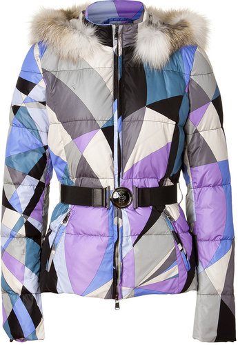 Emilio Pucci Iris and Silver Grey Belted Down Jacket