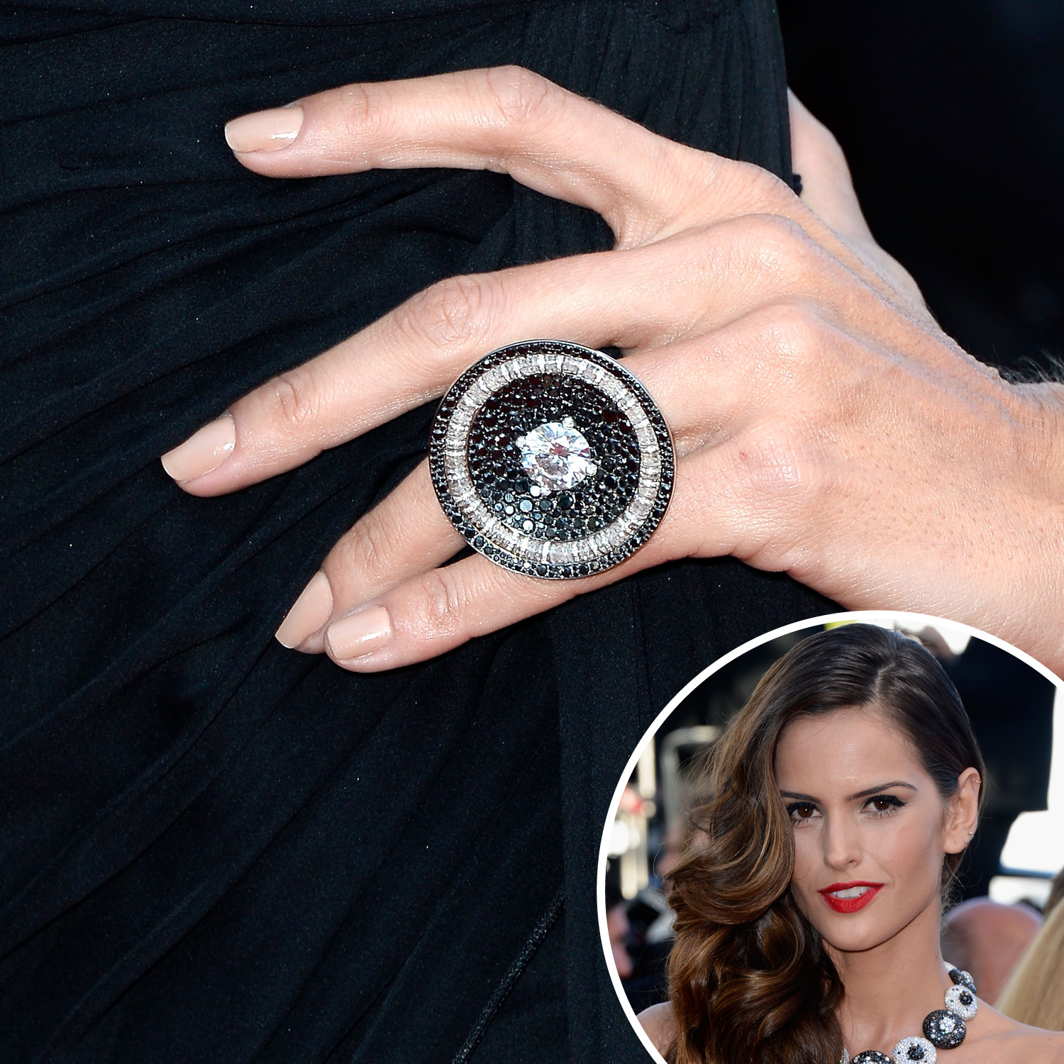Model Izabel Goulart was spotted at the premiere of The Immigrant with a nude nail polish accented with a cocktail ring we also saw on fellow model Alessandra Ambrosio.