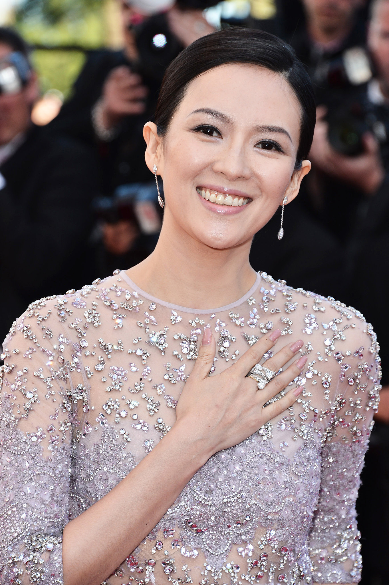 Ziyi Zhang wore a soft pink polish to go with her embellished gown at the premiere of La Vénus à la Fourrure.