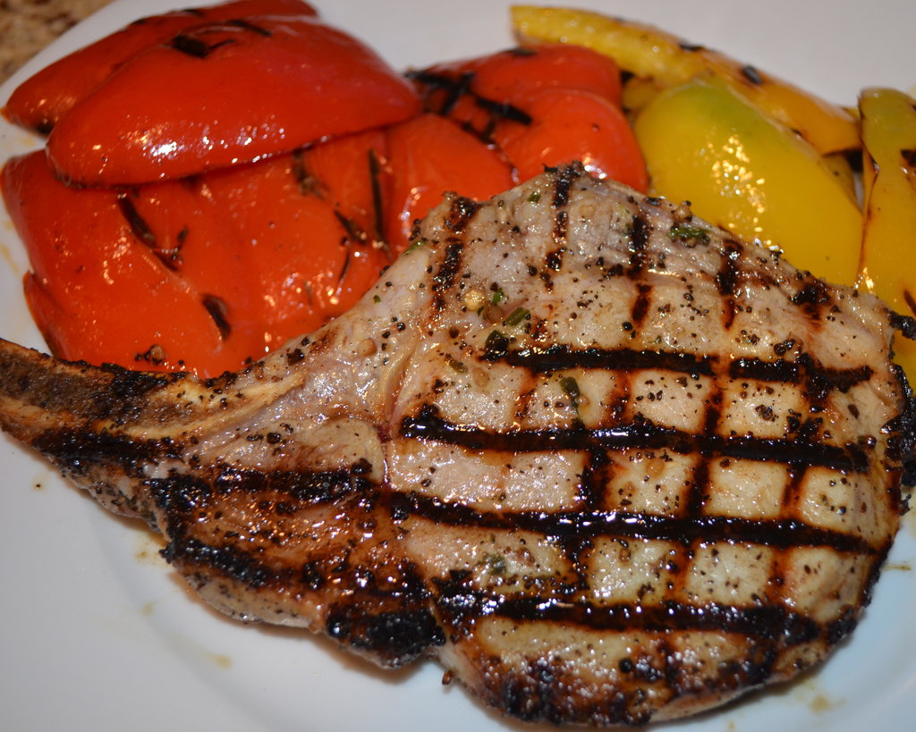 Grilled Center-Cut Pork Chops With Bell Peppers