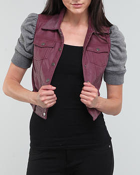 SALES light weight 3/4 sleeve faux leather vest w/ quarter sleeves