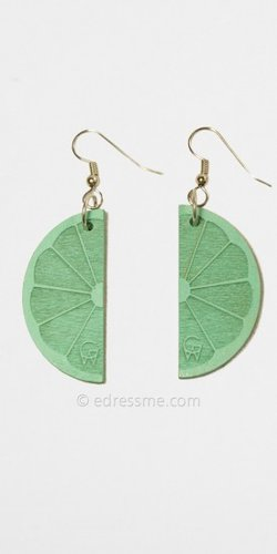 Teal Fruit Wedge Earrings by Good Wood
