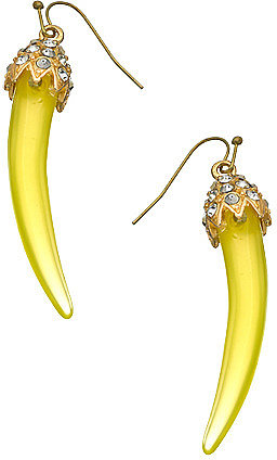 Blu Bijoux Gold  Crystal andTusk Earrings