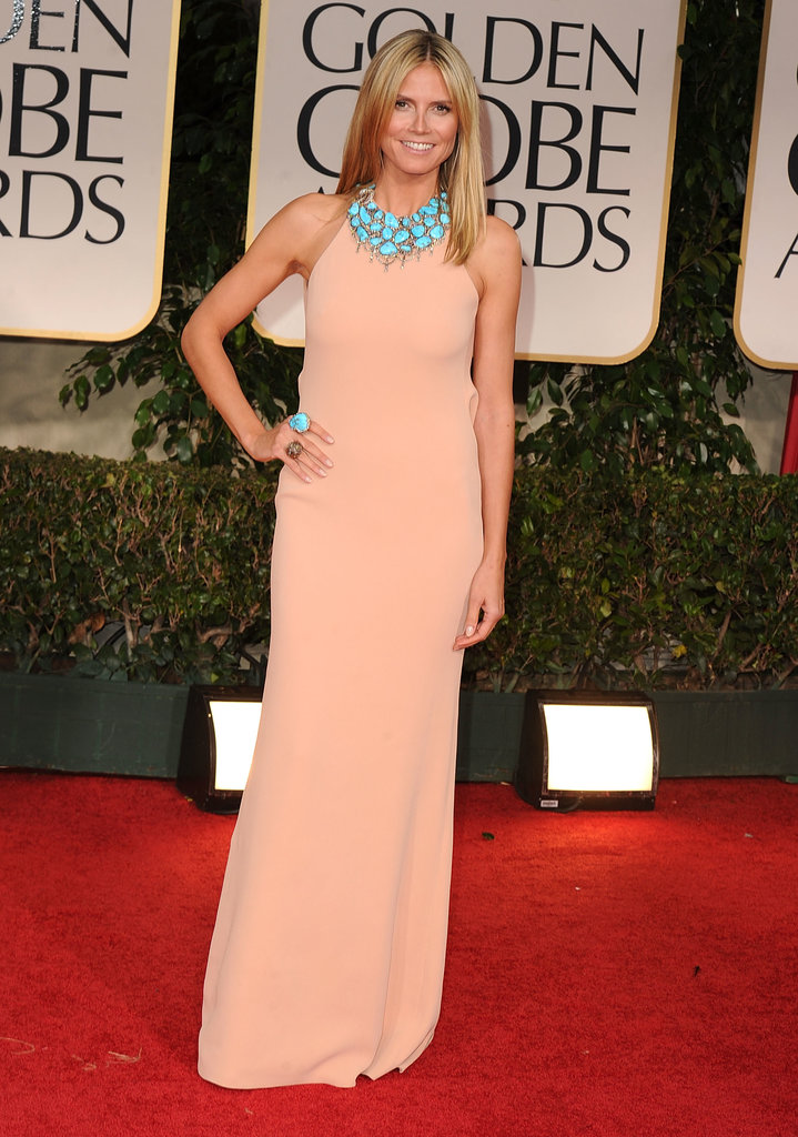 Heidi Klum in a Peach Calvin Klein at the 2012 Golden Globes