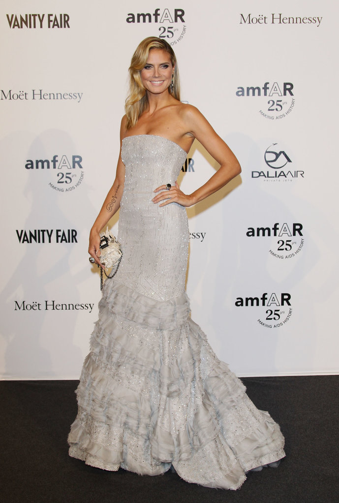 Heidi Klum in a Gray Tiered Gown at the 2011 amfAR Milano Gala