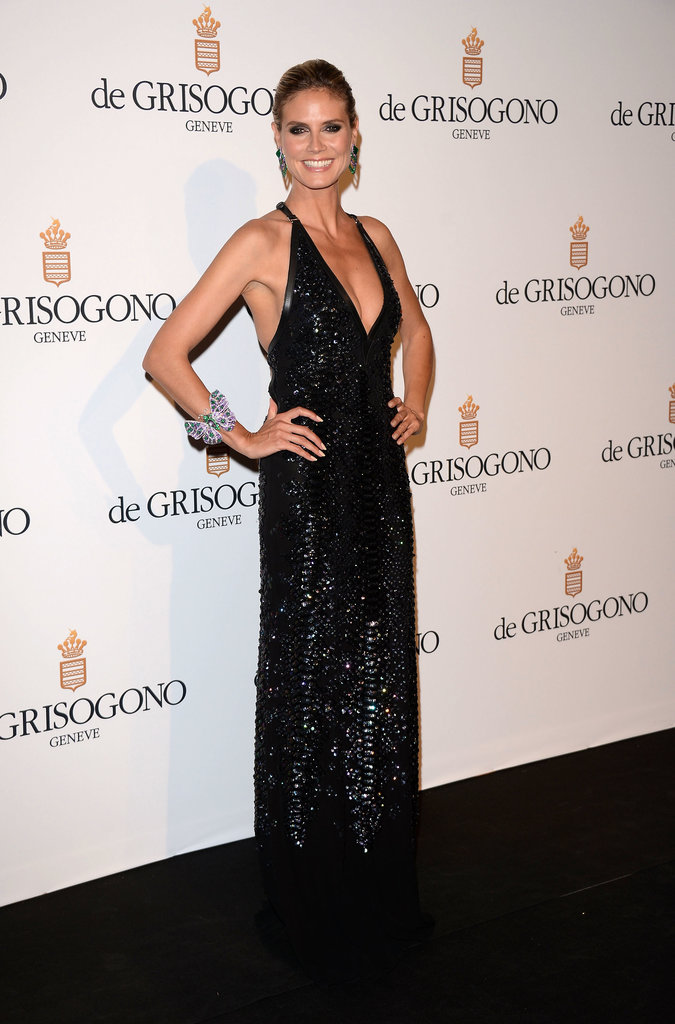 Heidi Klum in a Black-Sequined Roberto Cavalli at the 2012 Cannes Film Festival