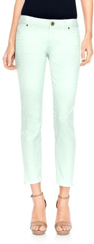 678 Zip-Ankle Textured Skinny Jeans