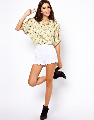 ASOS Shorts in Linen with Scallop Hem