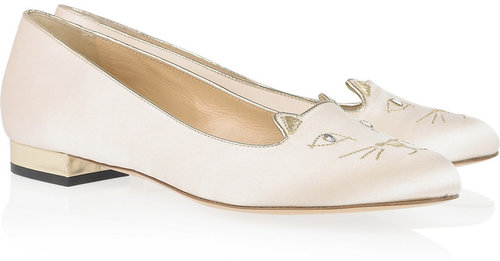 Charlotte Olympia Kitty embroidered satin flats