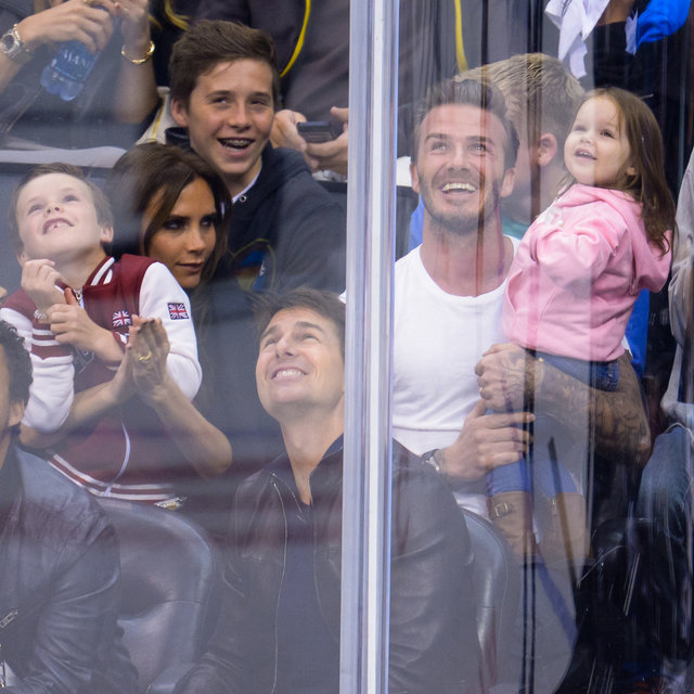 David Beckham and Harper on Kiss Cam at LA Kings Game