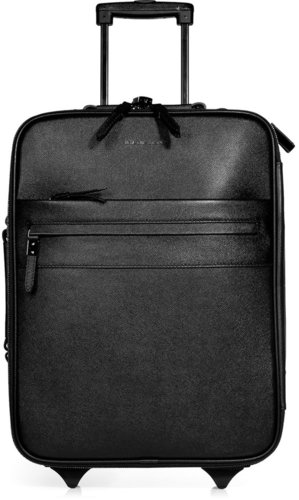 Burberry London Black Textured Leather Carry-On Suitcase