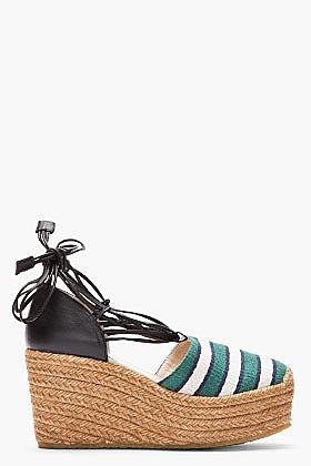 CHLOE Green striped High wedge Espadrille heels