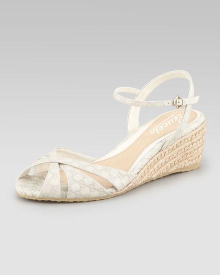 Gucci Penelope Leather Espadrille Wedge Sandal