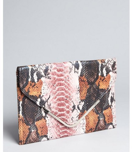 BCBGeneration mauve snake print faux leather envelope clutch