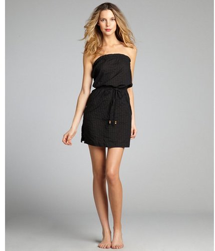 Shoshanna black cotton 'Dobby' strapless tie waist cover up