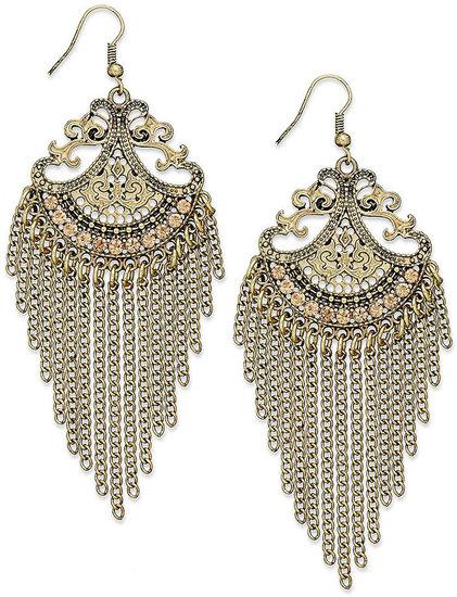 American Rag Earrings, Gold-Tone Pink Pave Fringe Chandelier Earrings