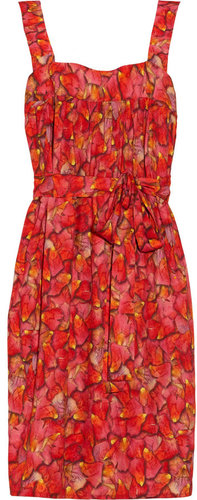 Tucker Petal-print silk dress