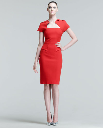 Roland Mouret Myrtha Folded Sheath Dress, Red