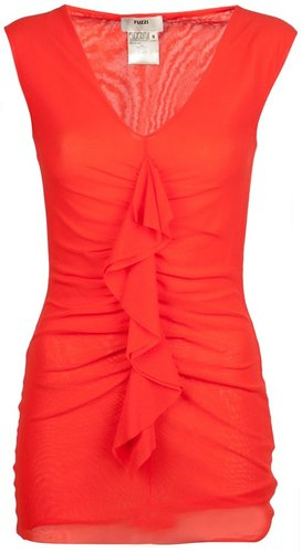 Fuzzi Ruched cap sleeve top