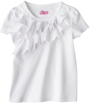 Circo® Infant Toddler Girls' Short-sleeve Ruffle Front Tee - White