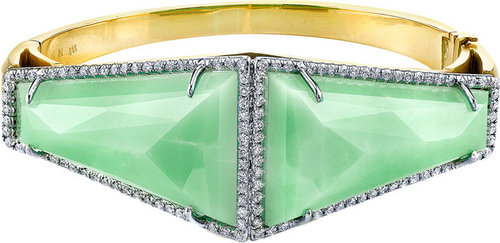 Irene Neuwirth Mint Chrysoprase & Diamond Pavé Hinge Bangle Bracelet