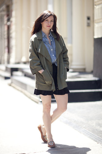 The perfect mix of staples, like her anorak, chambray button-down, and a flared mini, add up to a polished everyday look we want to steal. Source: Le 21ème | Adam Katz Sinding