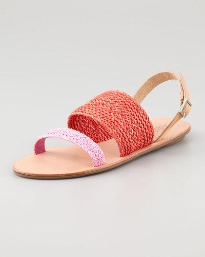Loeffler Randall Dree Woven Flat Sandal, Red/Bubblegum