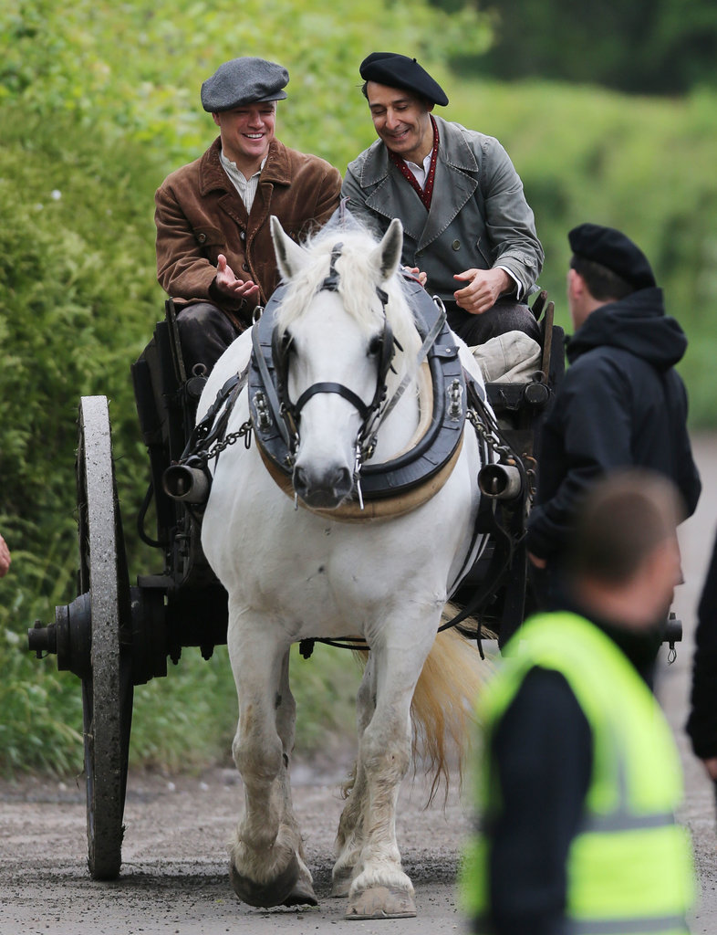 Matt Damon and a costar rode on a horse for scenes from The Monuments Men in Buckinghamshire, England.